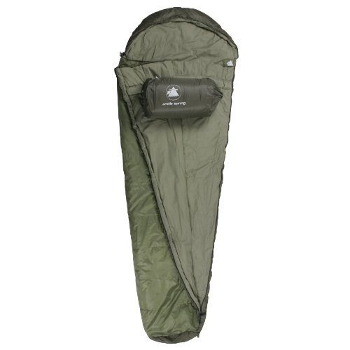 10T Arctic Spring XXL Camping Schlafsack bis -16°C Outdoor Mumienschlafsack 230x85cm Hüttenschlafsack mit 1700g Trekking Reiseschlafsack für 3 / 4 Jahreszeiten Frühling Sommer Herbst
