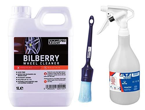 Set ValetPro Bilberry Wheel Cleaner Felgenreiniger 1L + Felgenpinsel + Sprühflasche