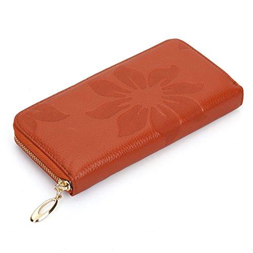 Yueling Echtes Leder Lange Geldbörse Frauen Brieftasche Erste Schicht Rindsleder Wallets Reißverschluss Blume Geprägte Weiche Feminina Brown (Geprägte Fossil Brieftasche)