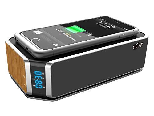 JE Altoparlante Bluetooth Radiosveglia Digitale Suono Stereo Radio FM Caricatore wireless Qi con ricarica da 10W per Galaxy / 7.5W per iPhone