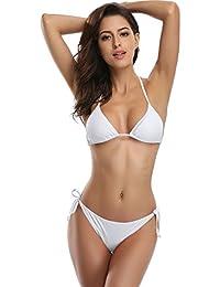 SHEKINI Femme Bandage Deux pièces Maillots de Bain Sexy Brésilien Triangle  Bas Bikini Set Push up aa32c0bd46