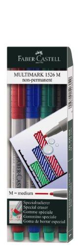 Faber-Castell 152604 - Marker MULTIMARK non-permanent, Stärke: M, 4er Etui, Inhalt: je 1x rot, blau, grün, schwarz