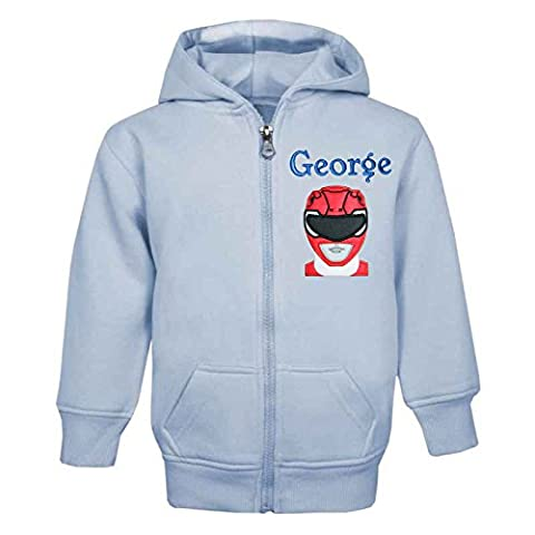 Power Rangers PERSONALISED ZIP FRONT HOODIE (BABY BLUE) (5-6 Years,
