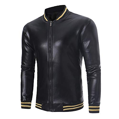 d3b2e8fd8fd Beladla De Cuero De Abrigos De Moda para Hombre Chaqueta Mens Costura Jacket  Outerwear Leather Top