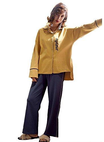 donne cotone set da pigiama le signore 2 pezzi morbido casuale biancheria da notte, M-XL Colore dell'immagine