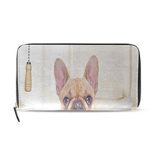 Enhusk Wc bulldog uhr zeitung lange pass kupplung geldbörsen reißverschluss brieftasche fall handtasche geld veranstalter tasche kreditkarteninhaber für dame frauen mädchen männer reisen geschenk -