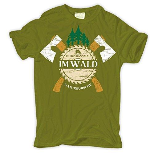 Männer und Herren T-Shirt Ich bin dann mal im Wald Moosgrün