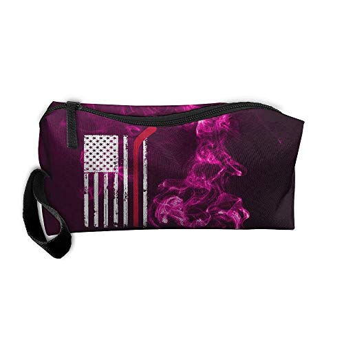 Hockey Stick In American Flag Makeup Bag/Travel Cosmetic Bag/Brush Pouch Case With Zipper Carry Case -