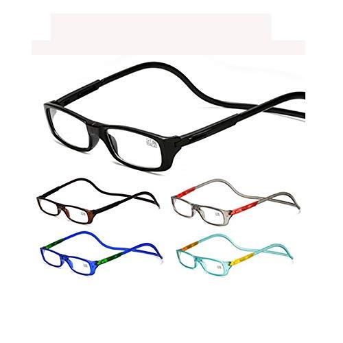 5er Pack Hängende Hals-Lesebrille Magnetische Presbyopiebrille Unisex +1,00 +1,50 +2,00 + 3,00 + 3,50 + 4,00,+2.50