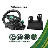 Volante con pedales (Color: negro y verde) de rotación de 180 grados ABS Gaming Racing