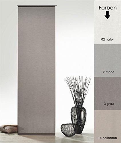 Flächenvorhang Natur Batist Optik inkl. Zubehör HxB 245x60 cm in grau - Schiebegardine einfarbig matt Natural Chic Gardine Typ410