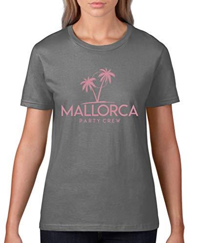 Comedy Shirts - Mallorca Party Crew - Style6 - Damen T-Shirt - Dunkelgrau/Rosa Gr. XL