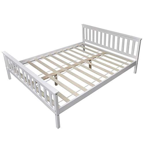 Festnight Bettgestell Bettrahmen mit Lattenrost Massives Kiefernholz-Rahmen Schlafzimmer Holzbett für Matratzengröße 160 x 200 cm Weiß