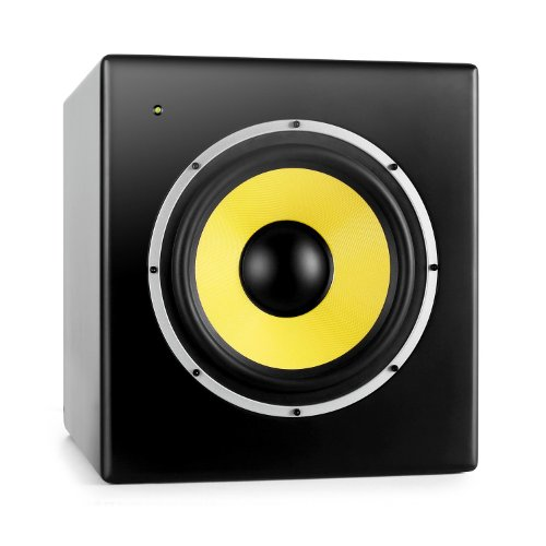 Power Dynamics Galax-10S Aktive Studio Subwoofer Lautsprecherbox Studio-Tieftöner (175W RMS, 25cm, XLR , magnetisch abgeschirmte) schwarz-gelb