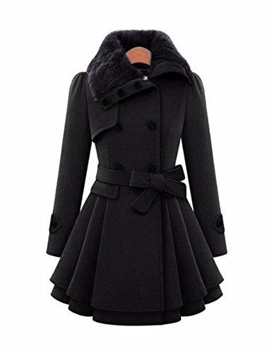 EMMA Damen Winter Fashion Mantel mit Pelzkragen Faux Fur Reverskragen Zweireiher Knopf Dick Wolle Gefaltet Saum Trench Mantel Kleid Jacke(BL,4XL) Trench-kleid