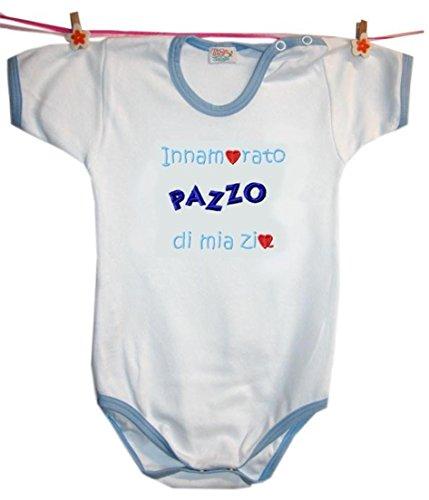 Zigozago - Body Innamorata/O Zia; Taglia: 3 mesi; Colore: Azzurro