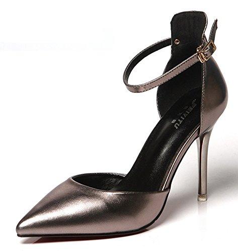 Aisun Damen Sexy Spitz Zehen Geschlossen Stiletto High Heels Knöchelriemchen Sandale Mit Schnalle Grau