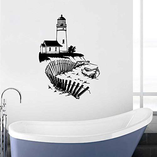 zqyjhkou Leuchtturm Wandbild Meer Strand Wand Vinyl Aufkleber Nautischen Innenausbau Abnehmbare Badezimmer Marine Wandaufkleber Ay1392 57x80 cm