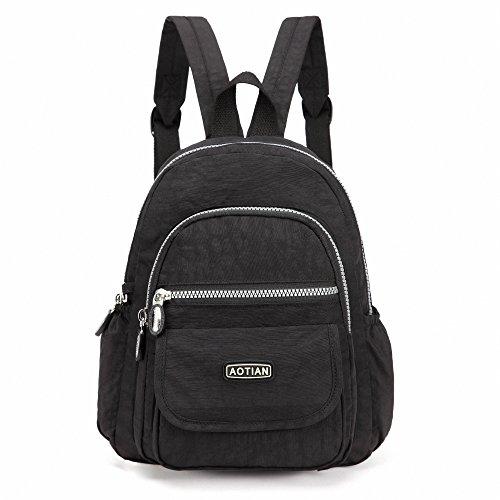 AOTIAN Mini Rucksack Für Mädchen Und Damen Leichtgewicht Kleine Lässiger Daypacks Tasche 7 Liter Schwarz (Klein Rucksack)