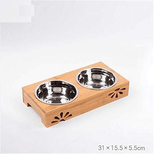 MYYXGS Wählen Sie eine Vielzahl von Größen aus Massivholz Esstisch Schüssel Keramikschüssel Hundenapf Katzennapf Sicherheit Heben die Tabelle der Halswirbelsäule 31 * 15.5 * 5.5cm zu schützen -