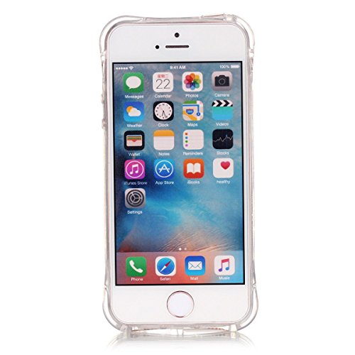 iPhone 5S Coque, iPhone SE Coque, Lifeturt [ Pissenlit ] Etui Transparent élégant TPU Gel Coque Silicone Shell Housse 3D Case Cover Motif Impression Creative Ultra Mince Cas Sac Skin Protection Shell  E02-Fleur de Prunier