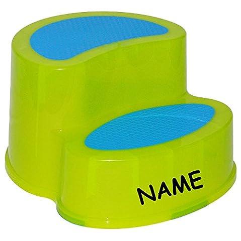 Trittschemel / Tritthocker / Kindersitz - incl. Namen - groß - GRÜN - Kinderschemel & Kindertritt - ideal als Erhöhung & Sitz - Kinderhocker - auch für Toilettentrainer - für Kinder Mädchen Jungen