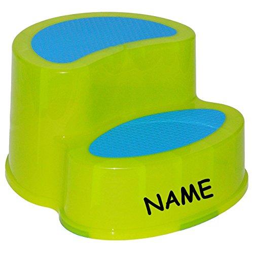 Kindersitz / Trittschemel / Tritthocker - incl. Namen - groß - GRÜN - ideal als Erhöhung & Sitz - Kinderhocker - Toilettentrainer - für Kinder Mädchen Jungen - Kinderschemel & Kindertritt