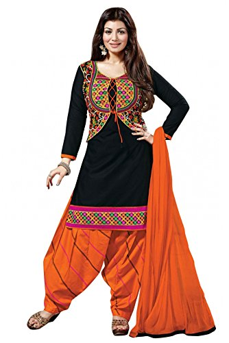 SARGAM FASHION Women Cotton Salwar Suit (Black_SFTA1__Free Size)