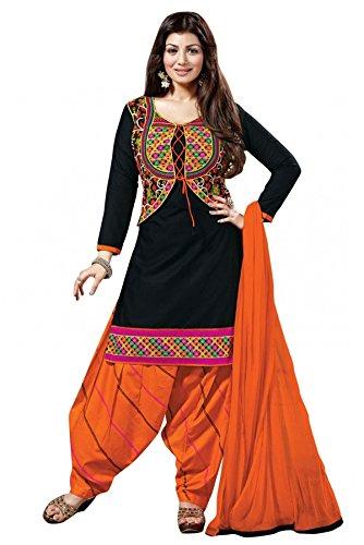 Sargam Fashion Women\'s Poly Cotton Printed Dress Material Black and Orange Free Size