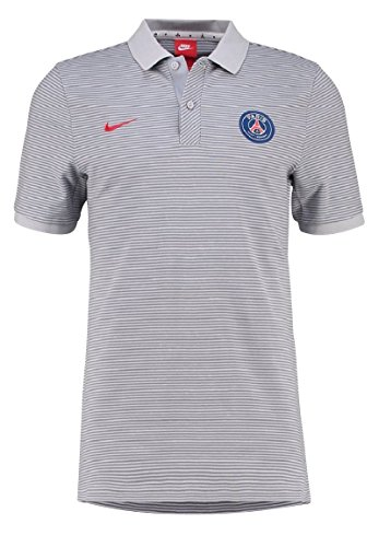 Nike PSG M NSW GSP PQ AUT Polo manica corta Parφs Saint-Germain FC per Uomo, Grigio (Wolf Grey / University Rete), S