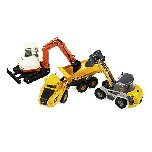Die-Forged 3pcs Earthmoving Mining and Engineering Toy Car Set, iPlay, iLearnDump Truck, Excavator, Bobcat