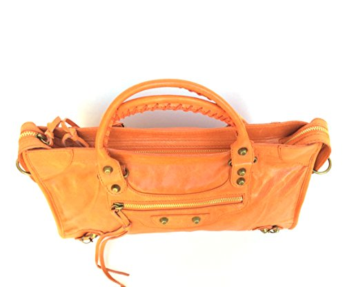SUPERFLYBAGS Damen handtasche Lux model Barcellona Größe M + Spiegel Made in Italy Orange