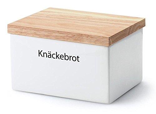 Continenta Knäckebrotdose, Knäckebrotbox, Vorratsdose für Knäckebrot mit Holzdeckel, mit Schrift: Knäckebrot, Größe: 17,5 x 13,5 x 11 cm
