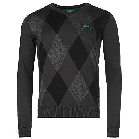 Slazenger Mens Argyle Sweater Ribbed Cotton Pullover Long Sleeve V Neck Top Black/Green L