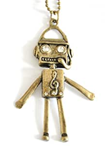 Hübscher bronzener Roboteranhänger mit Strassaugen lange Halskette Retro-Stil