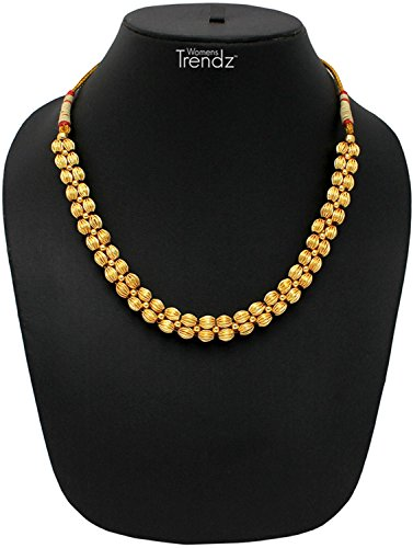Womens Trendz Traditional Handmade Jewellery Plain Lambat Mani Thushi 24K Gold Plated Alloy Necklace for Women and Girls