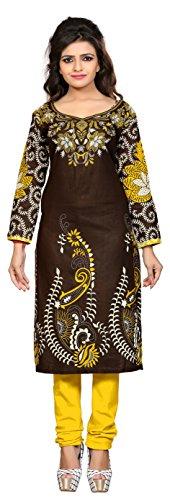 Nakoda Creation 3/4 sleeve Printed Round Neck Cotton Kurti for Women,Multicolor