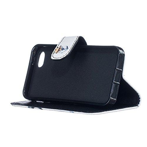 Coque Cuir Apple iPhone 5 / 5s / SE, Fermeture Aimantée de Motif Imprimé Étui Housse en Cuir Ultra-mince Avec La Fonction Stand pour Apple iPhone 5 / 5s / SE +Bouchons de poussière (2BN) 1