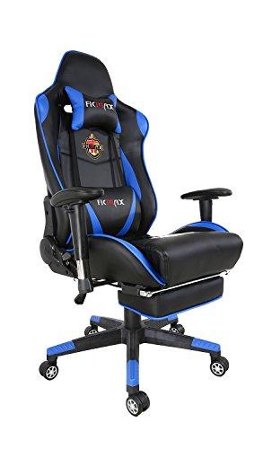 Ficmax Groß und Hoch Ergonomisch Leder Computerstuhl Drehstuhl Chefsessel mit Massage Lendenwirbelstütze und Verstellbar Fußstütze - blau / schwarz