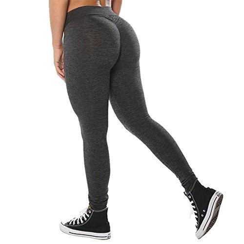 Oeak Femme Leggings de Yoga Fashion Pantalon de Sports Fitness Respirant Stretch pour Été Gris foncé