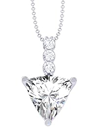 Valentine Gift Clara 92.5 Sterling Silver White Gold Plated Trillion Solitaire Pendant For Women & Girls