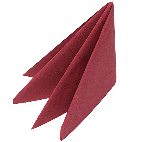 Swantex Burgundy Napkins 33cm 2ply - Pack of 100   Disposable Napkins  Party Napkins  Paper Napkins  Dinner Napkins