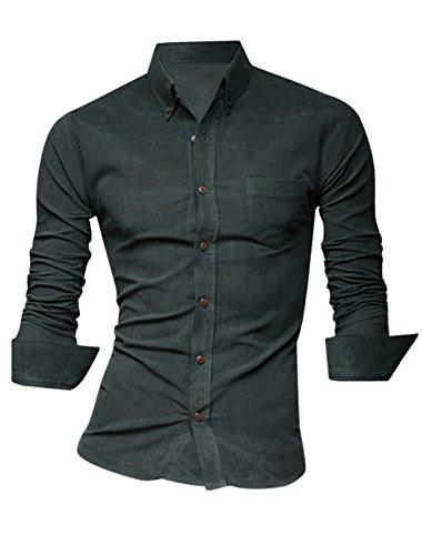 Herren Einreihig One Brusttasche Runder Saum Slim Freizeithemd gris oscuro