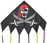HQ 106115 - Delta Jolly Roger Kinderdrachen Einleiner, ab 5 Jahren, 98x137cm, inkl. 17kp Polyesterschnur 40m auf Spule, 2-5 Beaufort