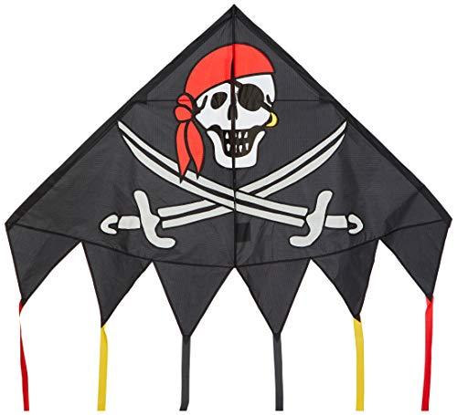 HQ 106115 - Delta Jolly Roger Kinderdrachen Einleiner, ab 5 Jahren, 98x137cm, inkl. 17kp Polyesterschnur 40m auf Spule, 2-5 Beaufort -