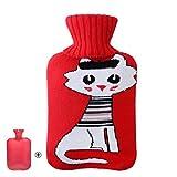 RSHDAI Wärmflasche Mit Superweichem Luxusbezug | (0,5/1/2/3 Liter) Großer Heißwasserbeutel | Wärme- Oder Kältetherapie | Zufällige Farbabdeckung