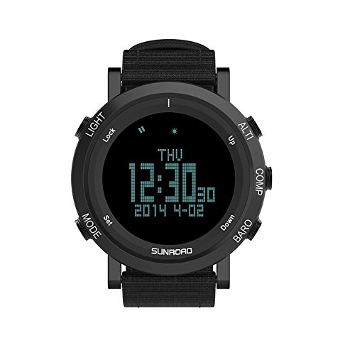 SUNROAD Digital Outdoor Sports Watch Men Altimeter Barometer Compass Pedometer Wristwatch With High Quality Nylon Strap