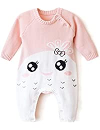 Himipopo Newborn Baby Overall Sweaters Baby Rompers Winter Baby Jumpsuit Clothing Set Long Sleeve (Pink, 66/6M)