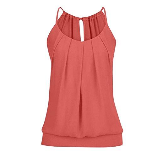 VEMOW Elegante Damen Frauen Mädchen Sommer Lose Runzeln O Neck Cami Tank Tops Weste Bluse T-Shirt Pullover T-stücke Pulli - Cami Mädchen Tank