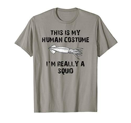 Menschenkostüm Ich bin wirklich ein Tintenfisch Halloween T-Shirt (Rosa Tintenfisch Kostüm)